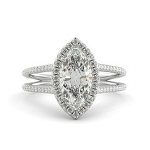 2.21 ct Marquise Brilliant Moissanite & Diamond Halo Engagement Ring 18k W Gold - $1,766.00