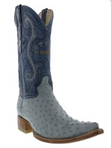 Mens Genuine Baby Blue Ostrich Leather Western Cowboy Boots 3x Toe - £150.81 GBP
