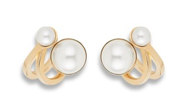 AUTH Christian Dior Ultra Dior Double Pearl Earrings Gold