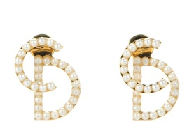 AUTH CHRISTIAN DIOR Pearl Your Dior Earrings Gold image 2