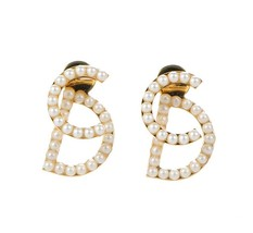 AUTH CHRISTIAN DIOR Pearl Your Dior Earrings Gold