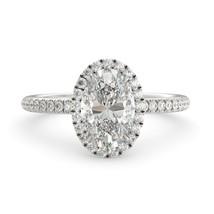 2.20 dwt Oval Forever One Moissanite & Round Diamond Engagement Ring 18k W Gold - $1,791.00