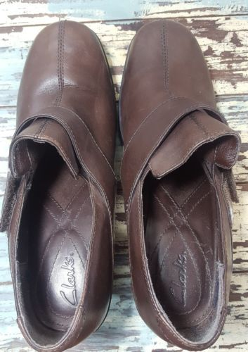 Clarks booties 7 ankle pumps brown leather harness strap