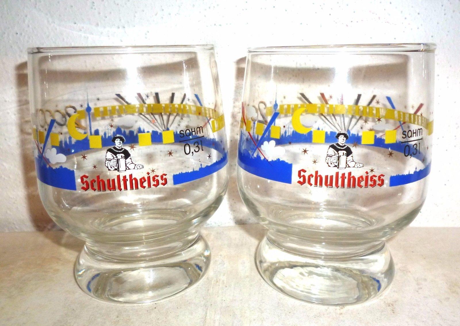 2 Schultheiss Berliner Weisse Millenium 2000 Berlin Weizen German Beer Glasses
