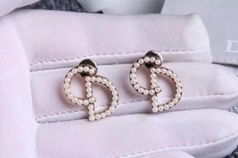 AUTH CHRISTIAN DIOR Pearl Your Dior Earrings Gold image 6