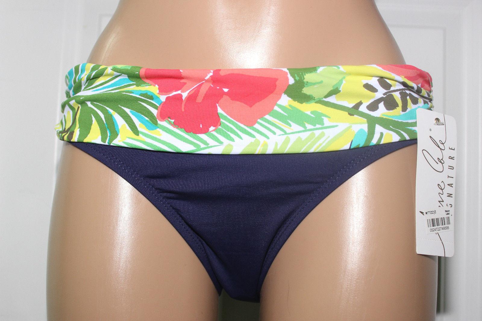 cb9107e68a8 57. 57. Previous. NEW Anne Cole 16MB391 Navy Green Multi Fold Over Banded Bikini  Bottom M Medium