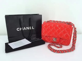 Authentic NEW WITH RECEIPT CHANEL Mini Square Flap Patent Red Bag