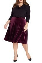 Ruby Velvet Midi Skirt Plus Size - $59.00