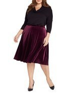 Ruby Velvet Midi Skirt Plus Size - £46.61 GBP