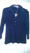 Nwt Ladies Sandy Elliott Navy Blue Long Sleeve Golf Shirt Top - Size L 10 12 14 - $19.99