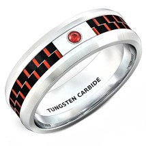 8mm Classic Tungsten Ring Red Carbon Fiber Zircon Comfort Fit Sizes 6-14... - $32.95