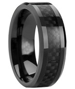 Black Carbon Fiber Inlay Tungsten Carbide Comfit Fit Men's 8mm Wedding B... - $29.95