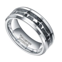 8mm Silver Tungsten Ring Wedding Band EKG Heart Beat Comfort Fit Szs 4-1... - $24.95