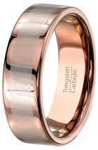 8mm Rose Gold Plated Tungsten Ring Wedding Band Flat Edge Sizes 4-16 & Half - $32.95
