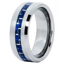 8mm Tungsten Ring Wedding Band Blue Fiber Comfort Fit Sizes 4-16 & Half - $24.95
