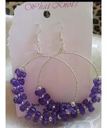 Silver Tri Bead Large Hoop Earrings  - $6.75