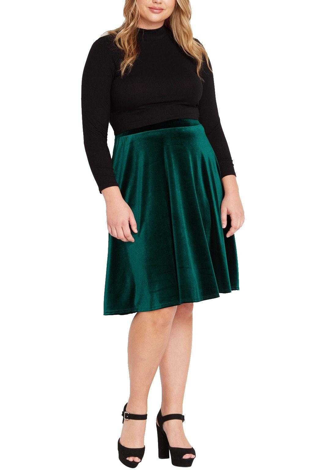Ruby Velvet Midi Skirt Plus Size