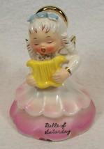 Napco Belle of Saturday 1956 Angel of the Week Series Figurine w/Harp - $34.99