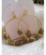 Antique Gold Barrel Bead Hoop Ethnic  Earrings Women  - $6.99