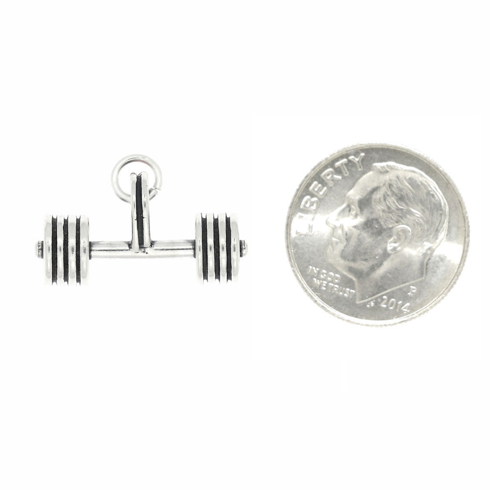 Sterling Silver Weightlifting Straight Barbell Charm Pendant