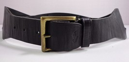 Ralph Lauren Womens Black Leather Belt Wide Size M Medium Made in Argentina - $89.95