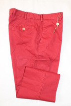 $545 BORRELLI PANTS Size 32 FLAT FRONT SLIM FIT NWT COTTON RED MADE IN I... - $110.00