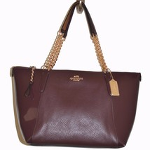 NEW Coach Leather Ava Chain Tote OXblood F55443... - $168.30