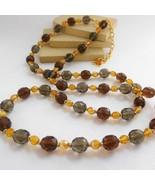 QVC Joan Rivers Amber Smoke Brown Crystal Bead Vintage Style Long Neckla... - $33.99