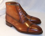 Handmade men s brown formal boot  lace up boot leather ankle high cap toe boot thumb155 crop