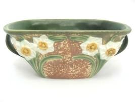 """Gorgeous Roseville Two Handled Jonquil Bowl 219 9"""" x 6"""" Rectangular 1930s - $235.12"""