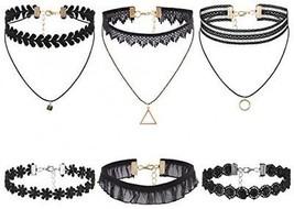 Flongo Womens Ladies Vintage Gothic 6PCS Lace Collar Neckband Choker Ne... - $23.74