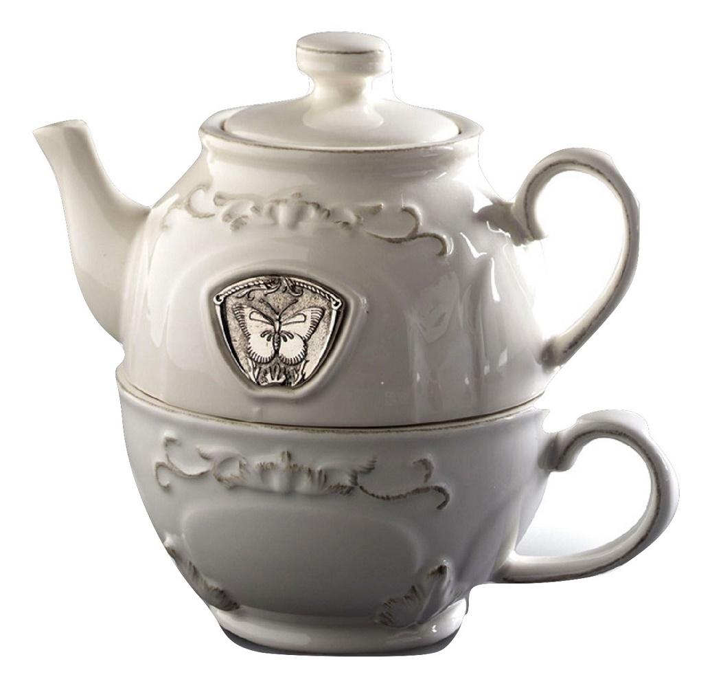 06187 5 butterfly white ceramic tea for one burned
