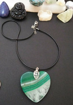 Natural Large Healing Banded Agate Pendant Necklace Heart Valentines day... - $14.84