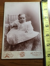 Cabinet Card Cute Baby Boy in White Dress Fur Rug Holds Chair Studio Art 1860-80 - $10.00