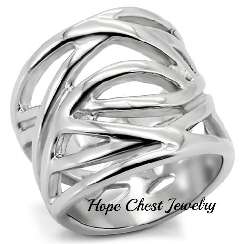 HCJ WOMEN'S STAINLESS STEEL INTERTWINED DESIGN FASHION WIDE BAND RING SIZE 5