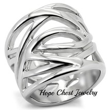 HCJ WOMEN'S STAINLESS STEEL INTERTWINED DESIGN FASHION WIDE BAND RING SI... - $14.49