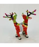 Babs Keller Reindeer Festive Antlers Salt Pepper Shakers Cosmos Christma... - $23.33