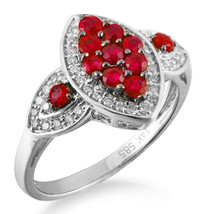 Solid 14K White Gold Ruby Red Colored Diamond Fashion Cocktail Unique Fine Ring image 1