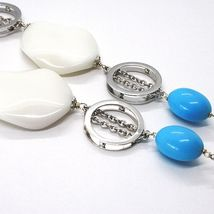 925 Silver Necklace, White Agate Crimped, Turquoise, Oval Pendant, 70 cm image 4