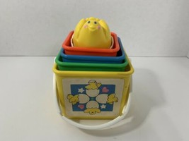 Fisher-Price vintage nesting stacking blocks chick in egg cups activity set toys - $12.86
