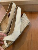 Christian Louboutin Espadrille US 7 Wedgesole Open Toe Sandals Fabric Rare USED image 3