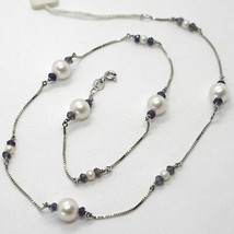 18K WHITE GOLD NECKLACE VENETIAN CHAIN ALTERNATE FACETED BLUE IOLITE AND PEARL image 1