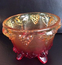 VINTAGE ORANGE/RED CARNIVAL GLASS CANDY DISH WITH GRAPE DESIGNS - $4.46