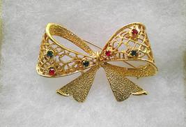 Convertible Earrings Gold Bow Brooch w Interchangeable Earrings Novelty ... - $24.50