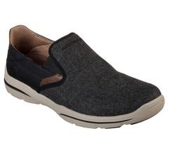 65579 Negro Skechers Zapatos Hombre Lona Espuma Viscoelástica sin Cordones - $40.07
