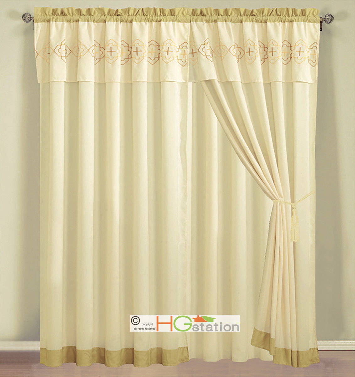 Primary image for 4-Pc Embroidery Quatrefoil Geometric Trellis Curtain Set Yellow Ivory Valance