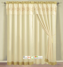 4-Pc Embroidery Quatrefoil Geometric Trellis Curtain Set Yellow Ivory Va... - $40.89