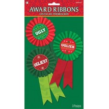 Ugly Uglier Ugliest Sweater 3 Ct Award Ribbon Badges Christmas Party - $159,31 MXN