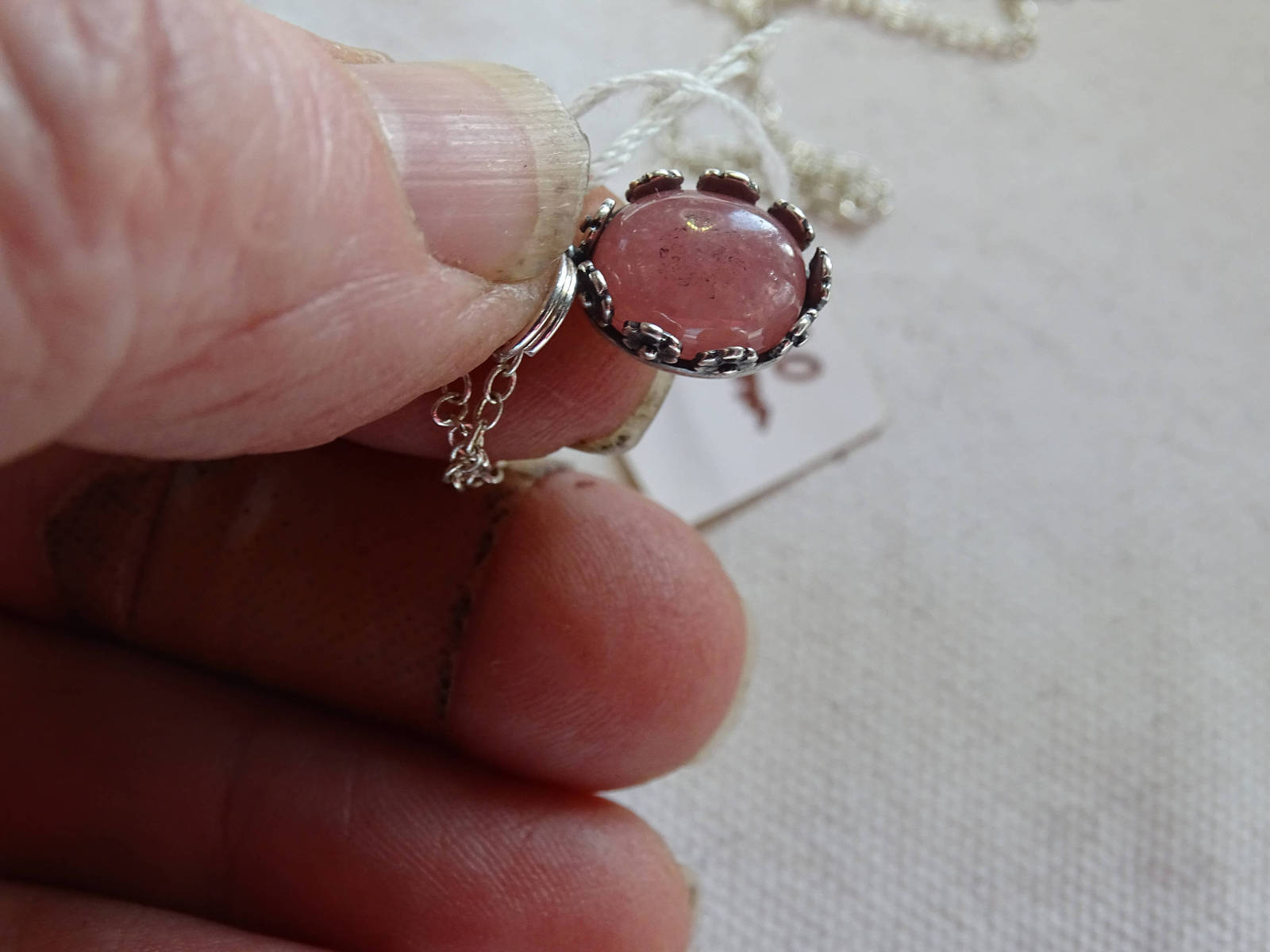 Primary image for HANDMADE Pink RHODOCHROSITE PENDANT Set in Beautiful Sterling Silver With Sterli