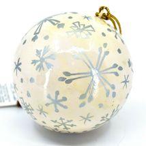 Asha Handicrafts Painted Papier-Mâché Silver Snowflakes Christmas Ornament image 3